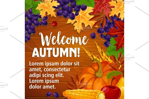 Autumn Or Welcome Fall Vector Poster Of Foliage Harvest