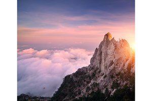 Mountain landscape at sunset. Amazing view from mountain peak