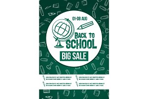 Back to School vector chalkboard sale poster