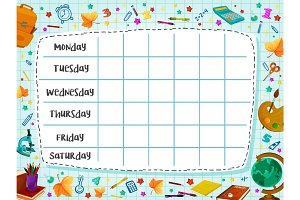 Back to School flat vector timetable schedule