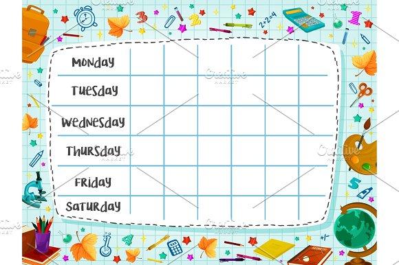 Back To School Flat Vector Timetable Schedule