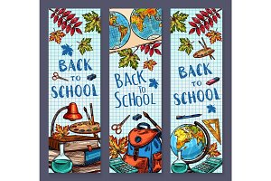 Back to School sketch vector banners