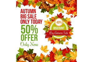 Autumn sale discount offer banner template design