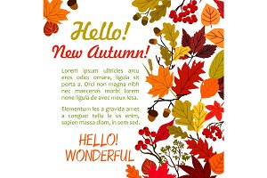 Hello Autumn poster template with fall leaf border