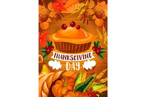 Thanksgiving pumpkin pie banner on wood backgorund