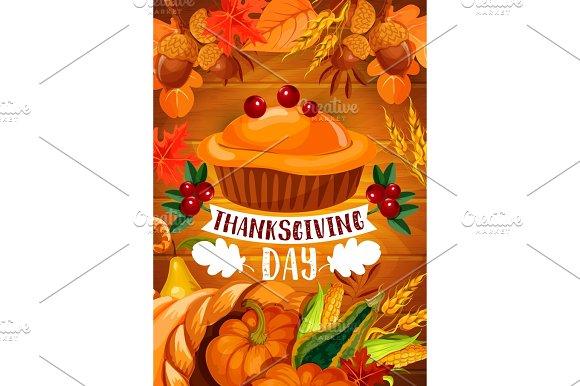 Thanksgiving Pumpkin Pie Banner On Wood Backgorund