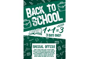 Back to School vector chalkboard sale offer poster