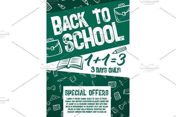 Back To School Vector Chalkboard Sale Offer Poster