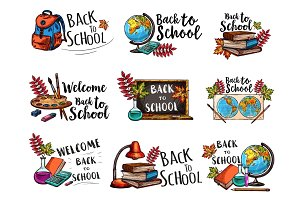 Back to School isolated sketch icons vector set