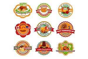 Thanksgiving Day label set of autumn harvest holiday