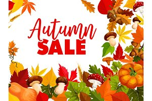 Autumn sale, fall season discount offer poster