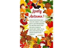 Autumn leaf and mushroom poster template design