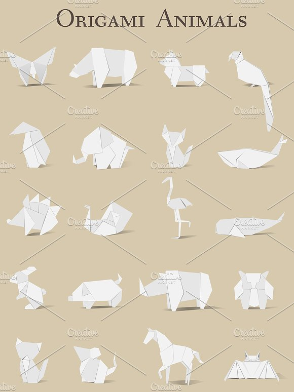 Origami Animals Vector Illustrations Creative Market - Origamis-animales