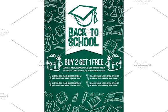 Back To School Sale Vector Chalkboard Poster