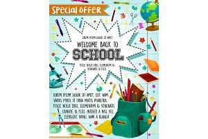 Back to School sale vector stationery poster