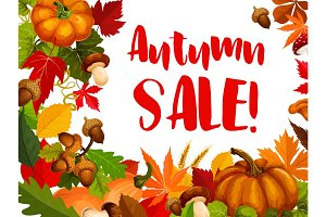 Autumn seasonal sale offer promotion poster design