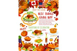 Thanksgiving Day banner, fall harvest celebration