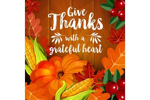 Thanksgiving greeting card for autumn holiday design