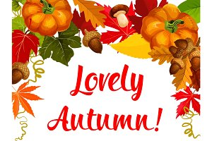 Autumn season poster, Thanksgiving holiday design