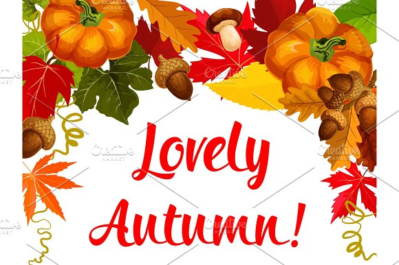 Autumn Season Poster Thanksgiving Holiday Design