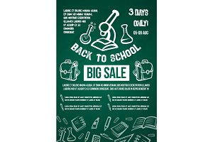 Back to School vector big sale offer poster
