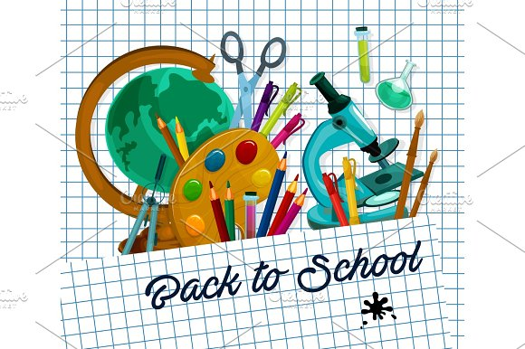 Back To School Vector Checkered Page Poster