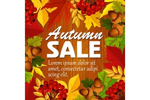 Autumn vector sale poster leaf, rowan berry acorn