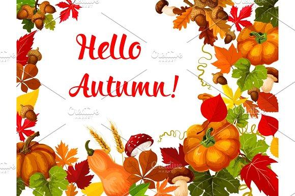 Hello Autumn poster for fall season greeting card