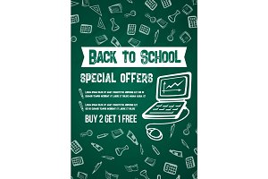 Back to School vector sale offer chalkboard poster
