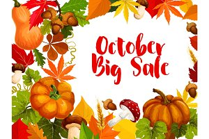 Autumn sale poster, october discount offer design