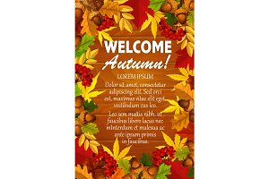 Autumn vector maple leaf foliage, rowanbery poster