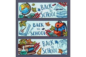 Back to School sketch stationery vector banners