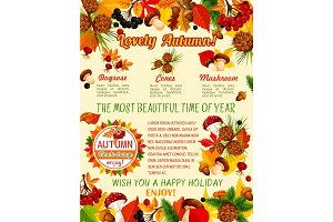 Autumn leaf, mushroom and berry banner template