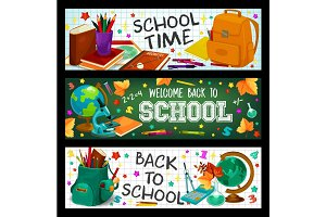 Back to School vector study stationery banners set