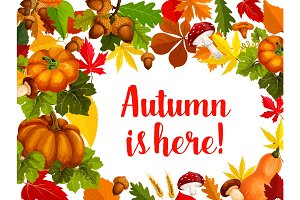 Autumn season poster with fall leaf and pumpkin