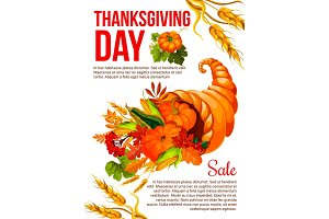 Thanksgiving sale banner template with cornucopia