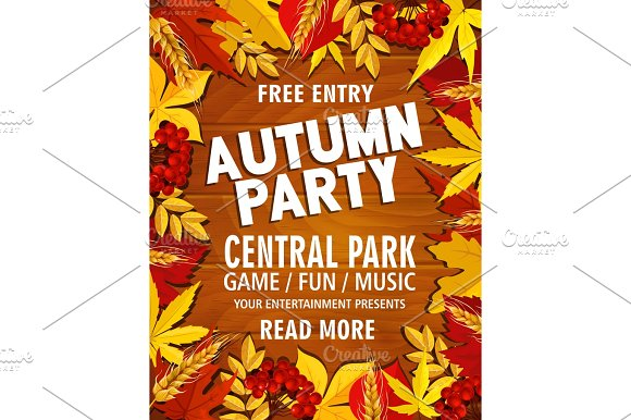 Autumn Vector Poster For Park Picnic Music Party