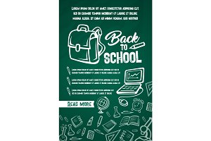 Back to School vector lesson supplies posters