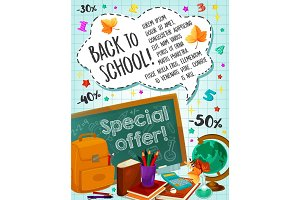 Back to School sale vector checkered page poster