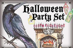 Halloween Party Watercolor