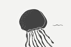 Underwater jellyfish vector
