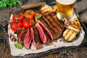 Sliced rare grilled steak