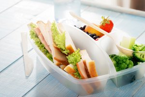 Full lunch box of healthy food