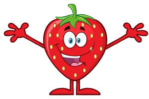 Happy Strawberry With Open Arms