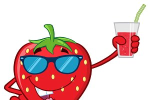 Strawberry Fruit With Sunglasses