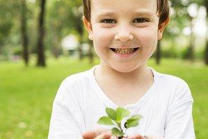 Little boy planting at park