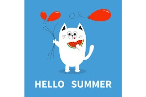 Hello summer. White cat red balloon