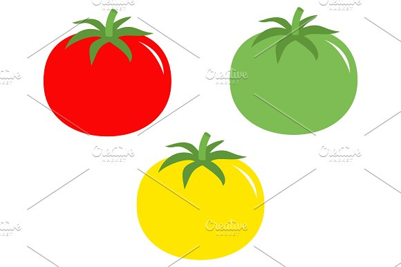 Red yellow green tomato icon set