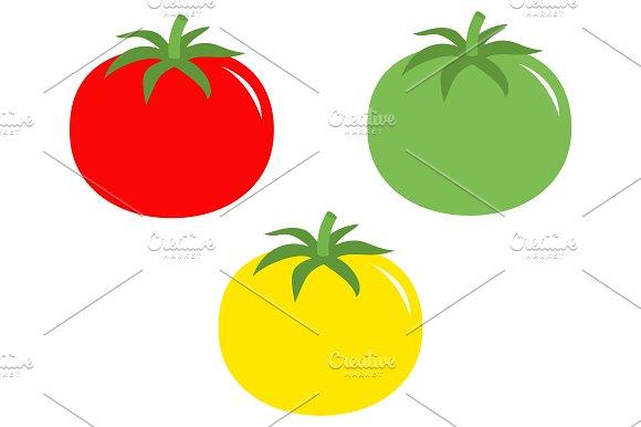 Red yellow green tomato icon set