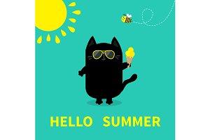 Hello summer. Cat holding Ice cream